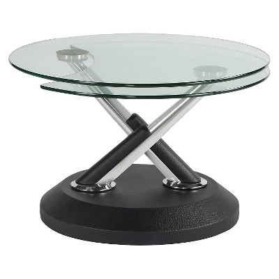 Etonnant Modesto Metal And Glass Swivel Cocktail Table   Synthetic Black   Magnussen  Home