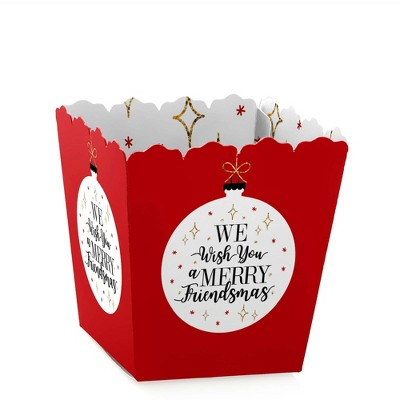Big Dot of Happiness Red and Gold Friendsmas - Party Mini Favor Boxes - Friends Christmas Party Treat Candy Boxes - Set of 12