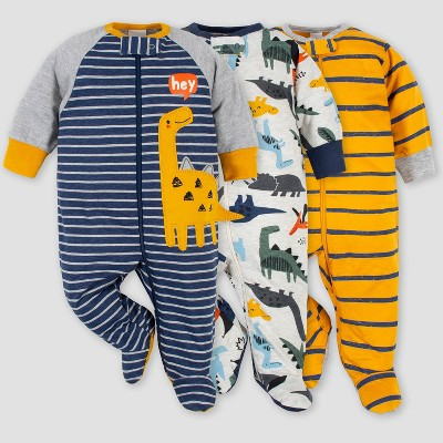Gerber Baby Boys' 3pk Dino Zip-Front Sleep N' Play - Purple 0-3M
