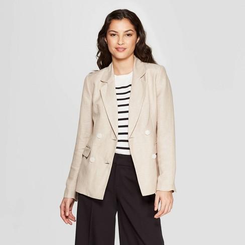 Women's Long Sleeve Linen Blazer - A New Day™ - image 1 of 4