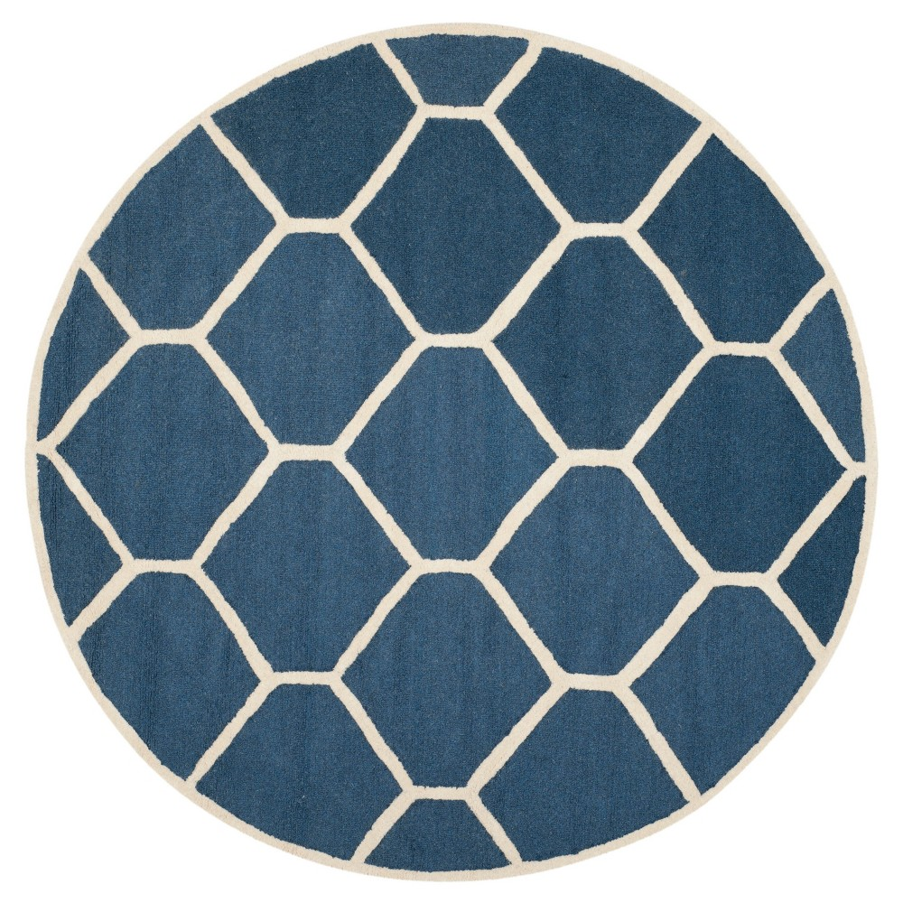 Hunter Texture Wool Rug - Navy Blue / Ivory (6' X 6' Round) - Safavieh, Blue/Ivory
