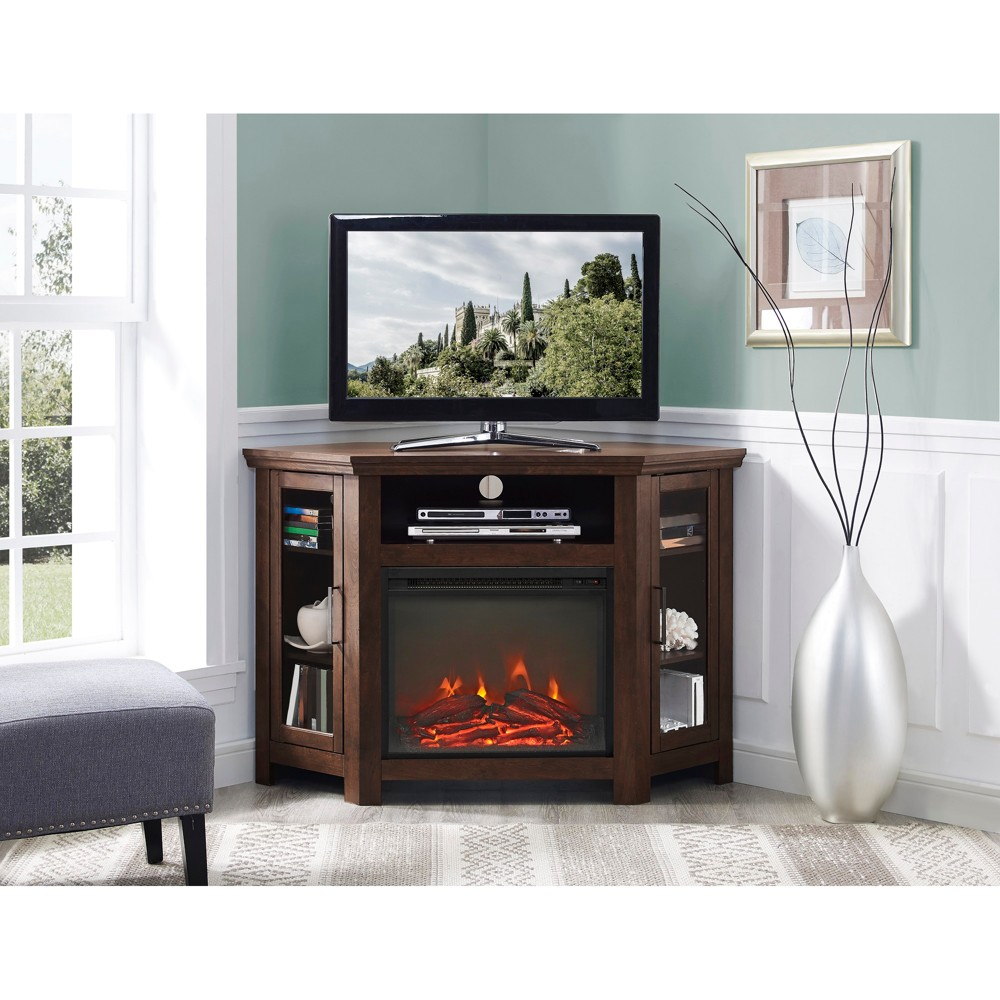 "Image of ""48"""" Wood Corner Fireplace Media TV Stand Console - Traditional Brown - Saracina Home"""