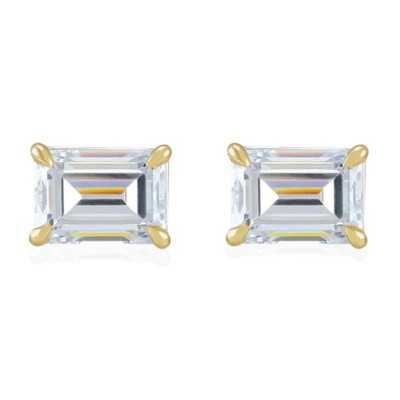 Pompeii3 1/2Ct Emerald Cut Moissanite Studs 14k White or Yellow Gold