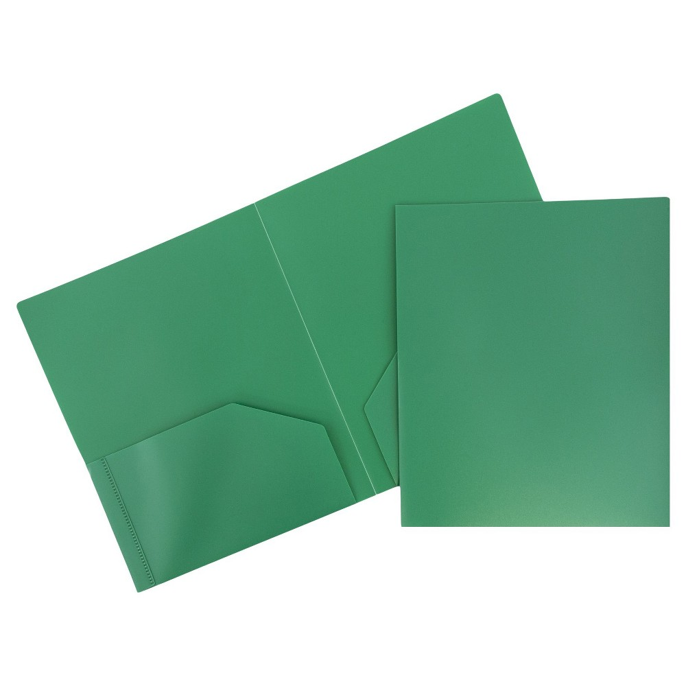 Image of 6pk 2 Pocket Heavy Duty Plastic Folder Green - JAM Paper