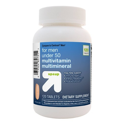 Men's Under 50 Multivitamin Dietary Supplement Tablets - 120ct - Up&Up™ - image 1 of 3