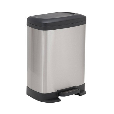 Household Essentials 8L Rectangle Design Trend Step Trash Can Stainless Steel