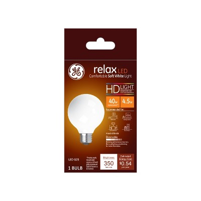 General Electric 40W Ca Relax LED Light Bulb SW G25 Globe Frost