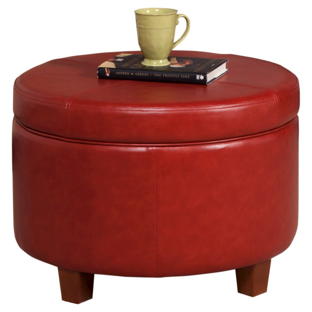 Homepop Large Faux Leather Round Storage Ottoman - Cinnamon was $104.99 now $78.74 (25.0% off)
