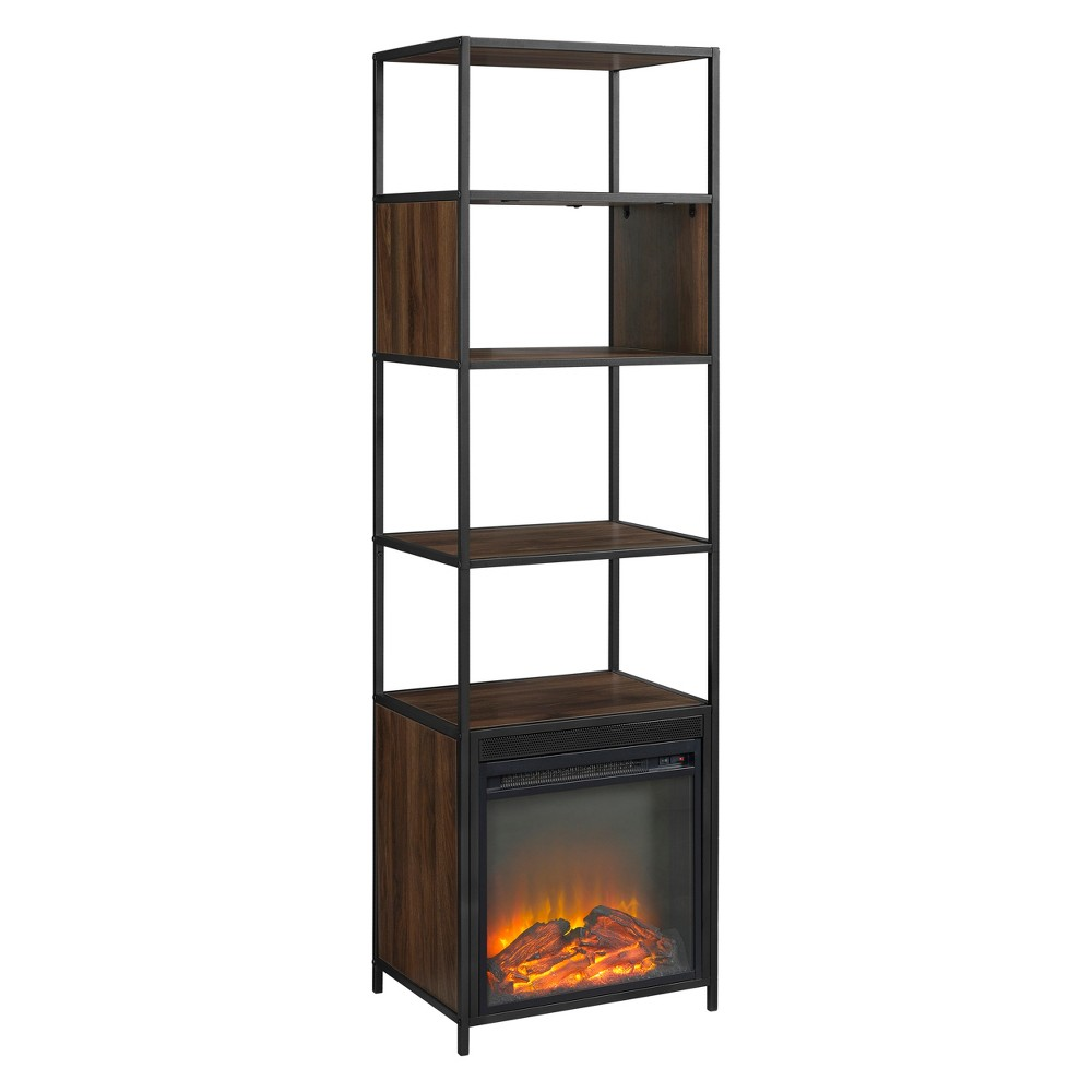 70 Metal and Wood Tower Fireplace Dark Walnut - Saracina Home