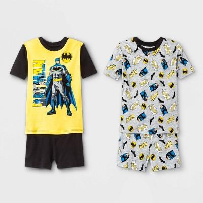 Boys' Batman 4pc Pajama Set - Black/Yellow/Gray