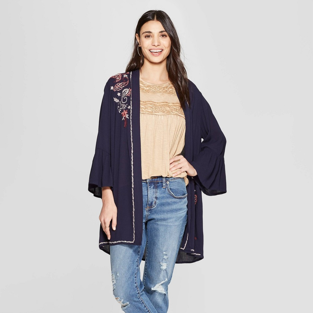 Women's Long Sleeve Open-Front Kimono Jacket With Embroidery - Knox Rose Navy M, Blue