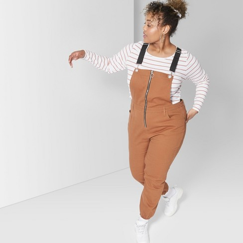 f253fc1d01 Women s Plus Size Strappy Zip Front Overall Jumpsuit - Wild Fable™ Brown 2X    Target