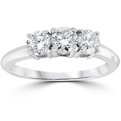 Pompeii3 1 Carat 3-Stone Diamond Engagement Ring Solitaire Round Cut 14k White Gold
