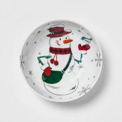 33oz Melamine Snowman Dining Bowl White - Wondershop™