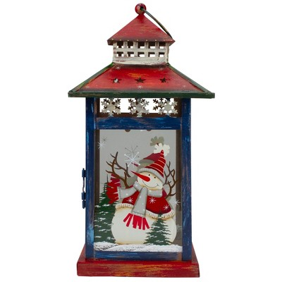 """Northlight Red, White and Black Snowman """"Let It Snow"""" Christmas Lantern 12.75"""""""