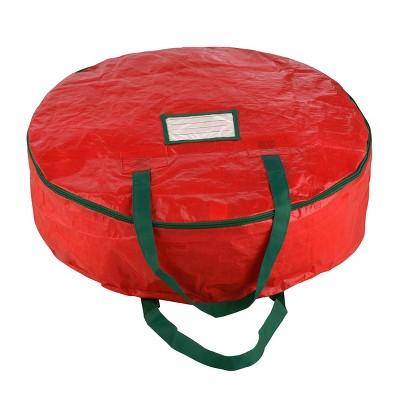 "24"" Premium Holiday Christmas Wreath Storage Bag Red - Elf Stor"