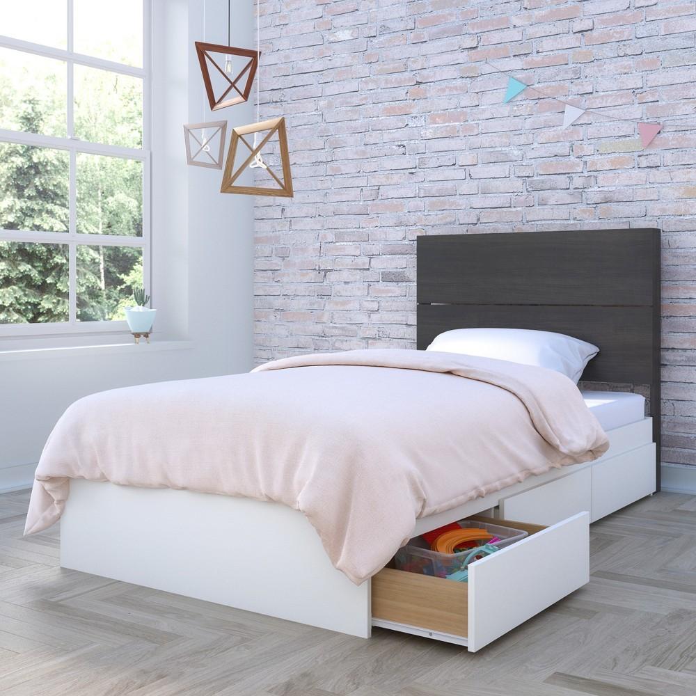 Cadence 2pc Storage Bed and Headboard Twin White & Black - Nexera