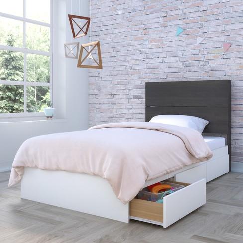 Cadence 2pc Storage Bed and Headboard Twin White & Black - Nexera - image 1 of 3