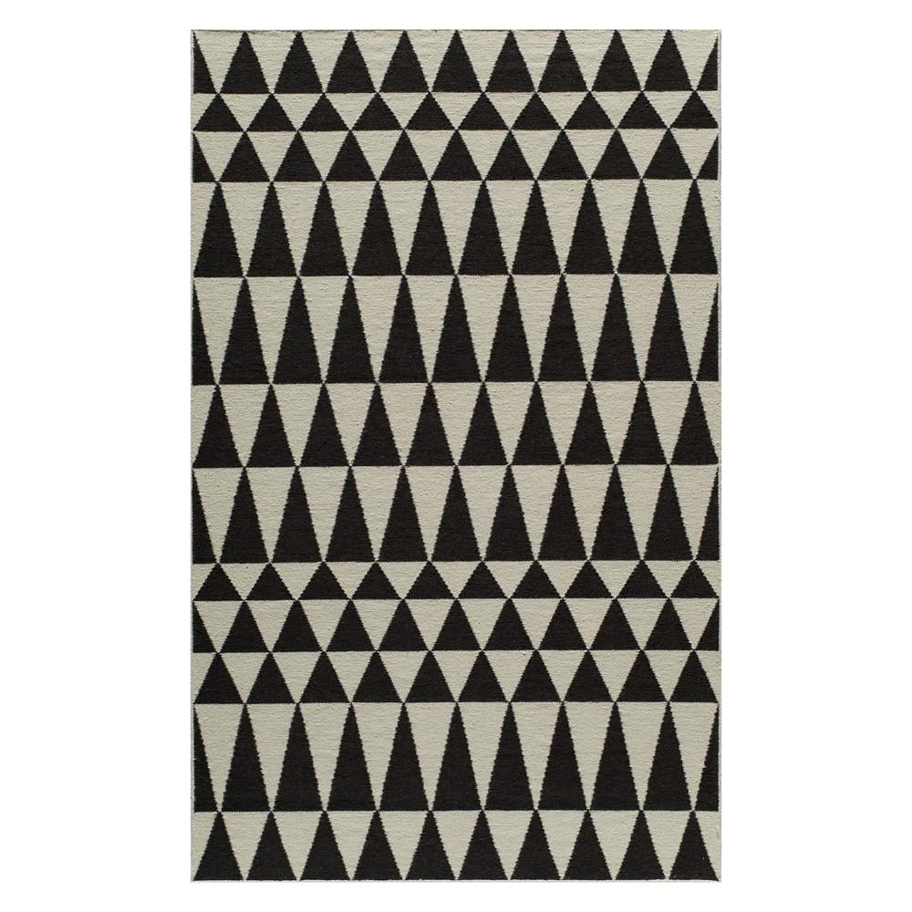 5'X8' Geometric Woven Area Rug Black - Momeni