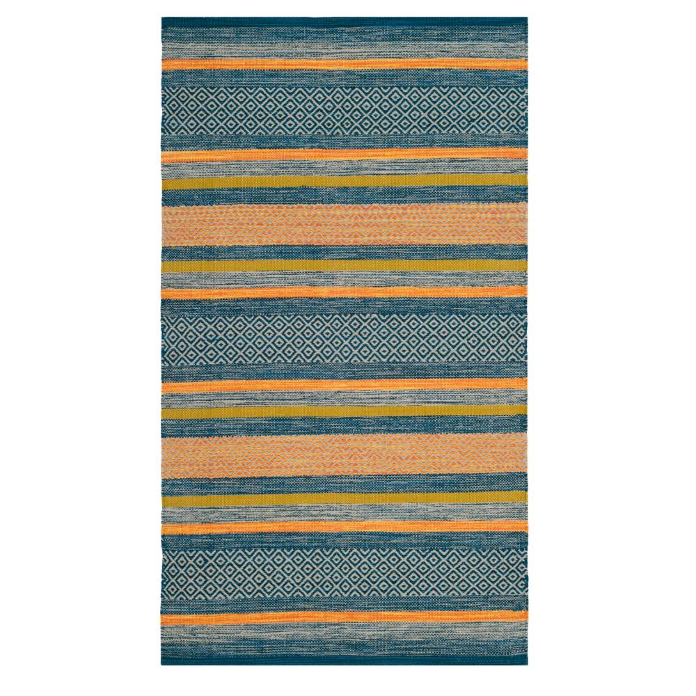 Blue/orange Stripe Woven Accent Rug 3'X5' - Safavieh, Blue Orange