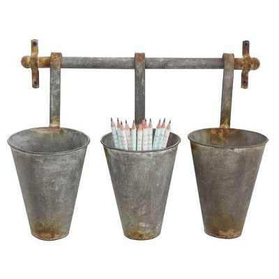 Metal Wall Rack with 3 Tin Pots - 3R Studios