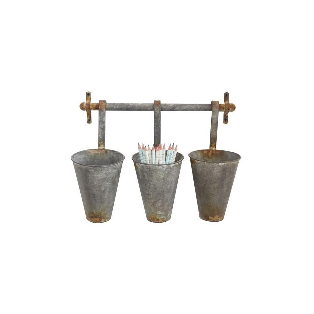 Metal Wall Rack with 3 Tin Pots - 3R Studios, Gray