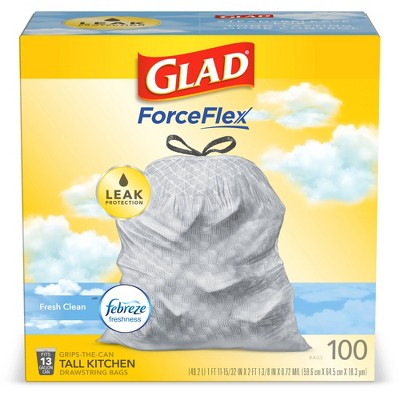 Glad Tall Kitchen Drawstring Trash Bags - OdorShield 13 Gallon Gray Trash Bag - Febreze Fresh Clean - 100ct