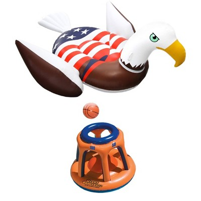 Swimline American Bald Eagle Riding Pool Float & Basketball Hoop Pool Toy