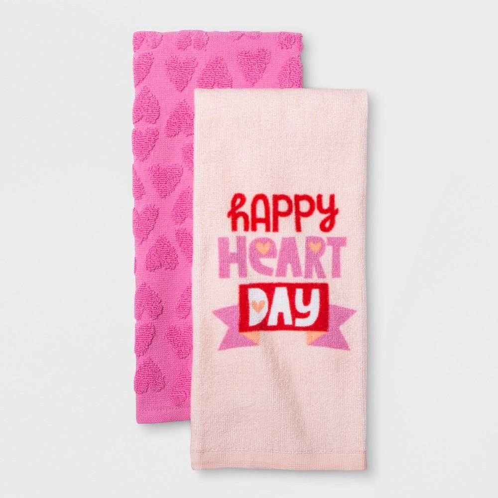 2pk 'Happy Heart Day' Kitchen Towel Pink - Spritz