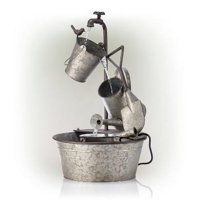 "Alpine Corporation 29"" Metal Tiered Garden Tools Fountain - Copper"