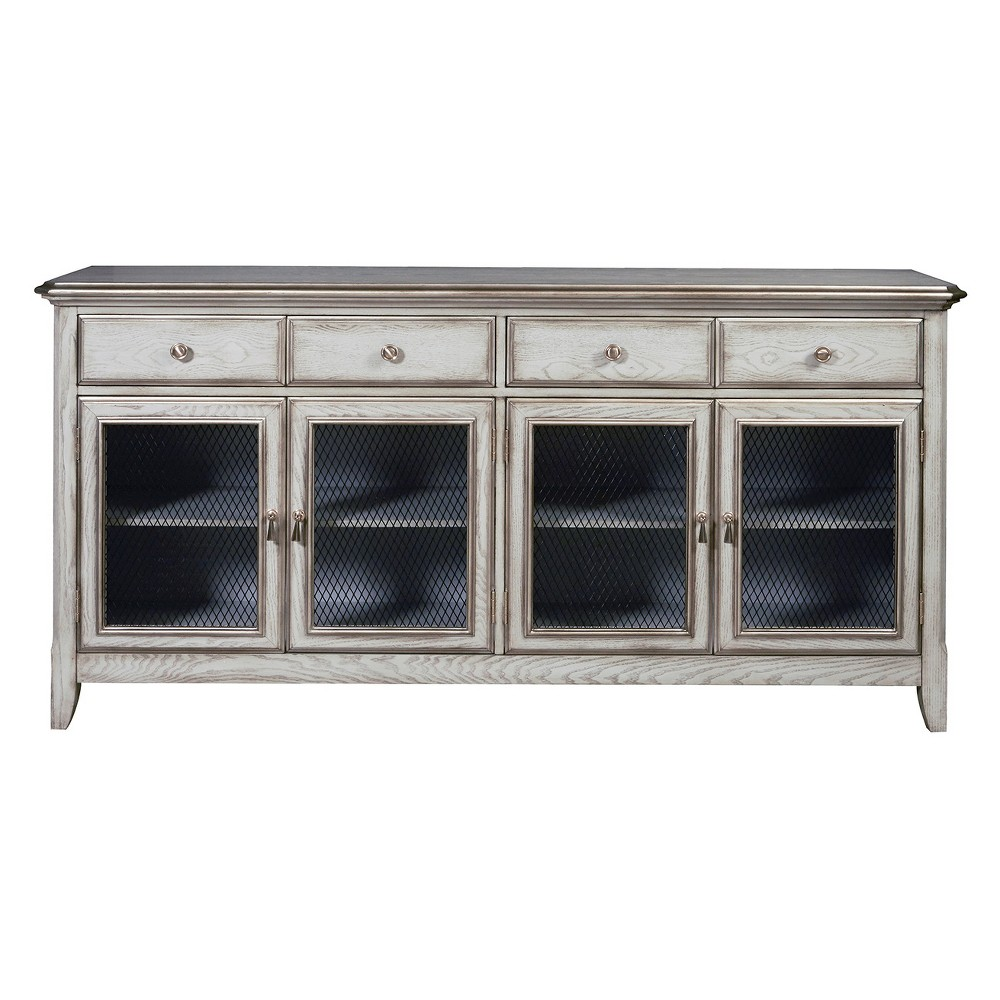 Farmhouse Style Robins Egg Blue Four Door Credenza with Wire Mesh Door Inserts - Blue - Pulaski, Silver
