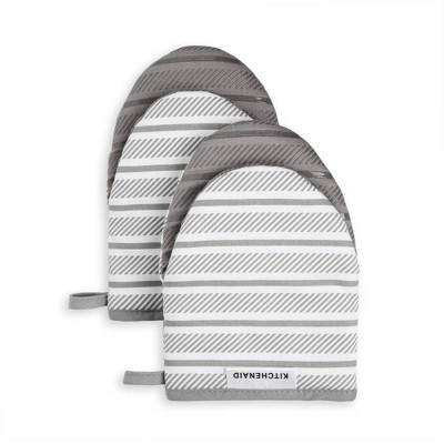 KitchenAid 2pk Cotton Albany Mini Oven Mitts Gray