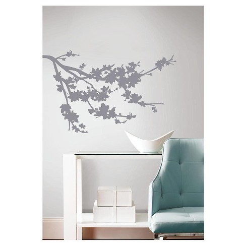 RoomMates Gray Silhouette Blossom Branch Peel and Stick Wall Decals - image 1 of 1