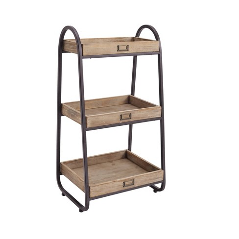 32 5 Three Tiered Stand Brown Linon Target