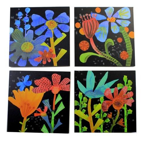 "Tabletop 4.5"" Folk Art Coasters Flowers Holder Ganz  -  Coasters - image 1 of 3"