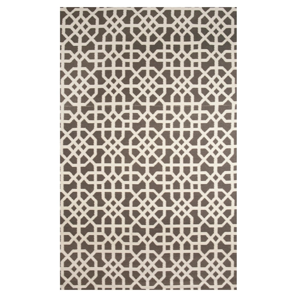 Tuft & Loom Indoor/Outdoor Fretwork Area Rug - Coral/Cream (8'x10'), Charcoal Heather