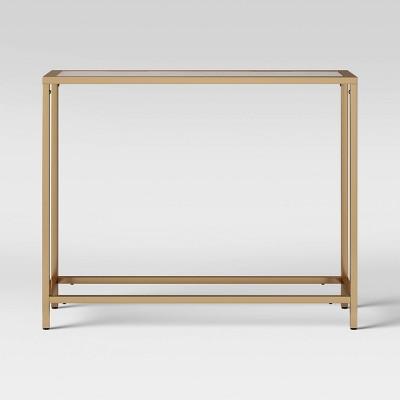 Greenwich Narrow Glass Top Console Brass - Threshold™
