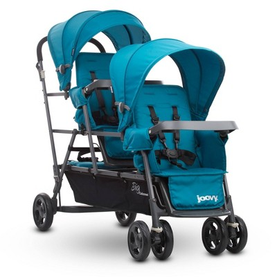 Joovy Big Caboose Graphite Stand On Tandem Triple Stroller - Turquoise