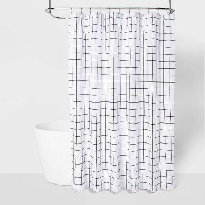 Microfiber Shower Curtain Black/White - Room Essentials™
