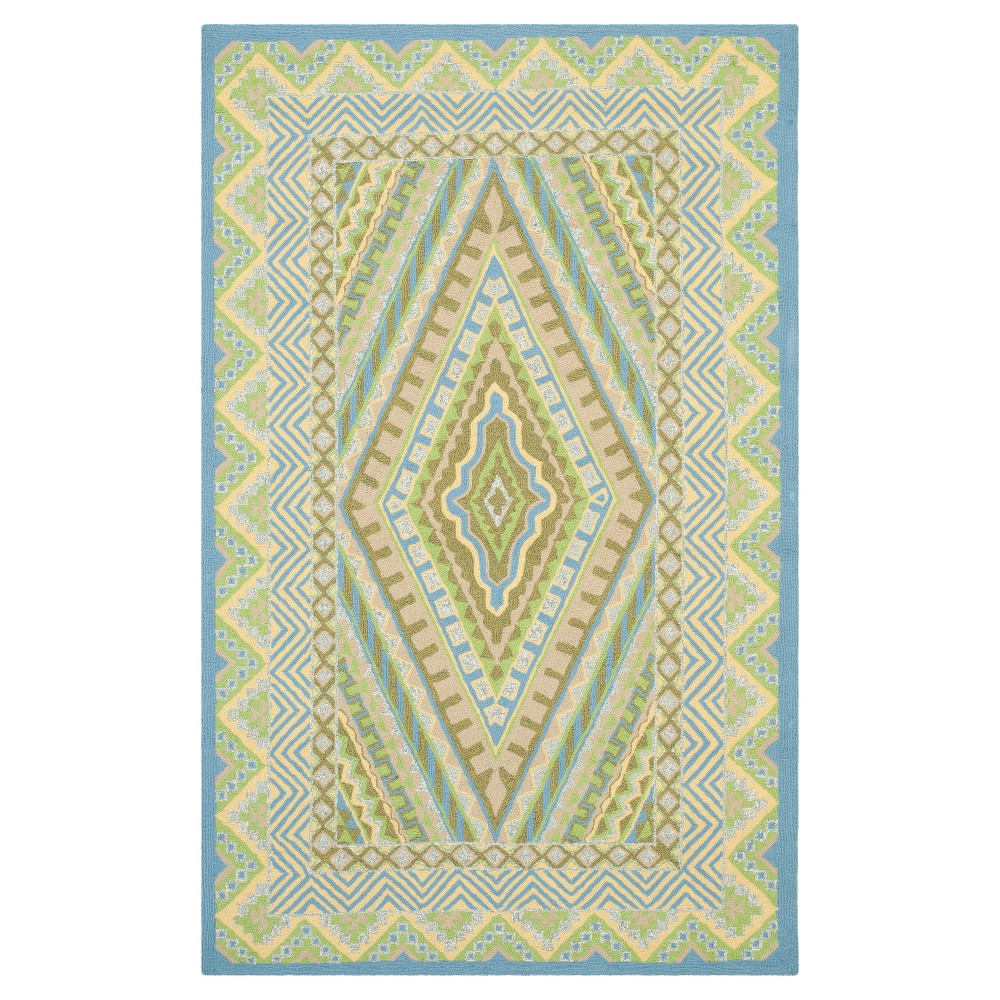 Blue/Yellow Abstract Tufted Accent Rug - (3'6