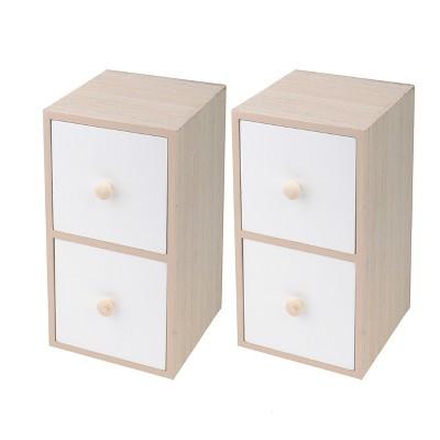2pk Decorative Storage Drawers White/Brown - Bullseye's Playground™