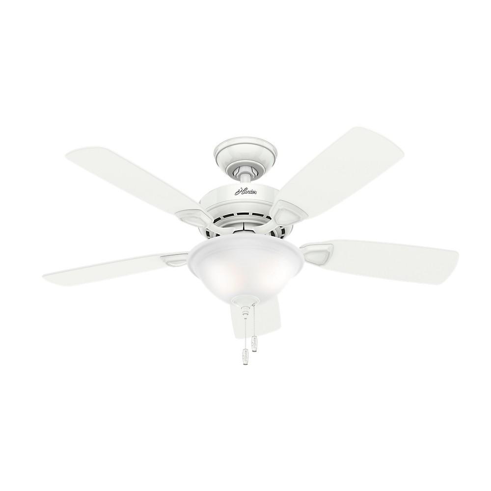 """Image of """"44"""""""" LED Caraway Five Minute Fan Snow Lighted Ceiling Fan White - Hunter Fan"""""""
