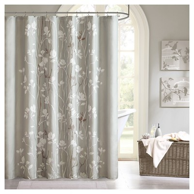 Holly Shower Curtain Gray