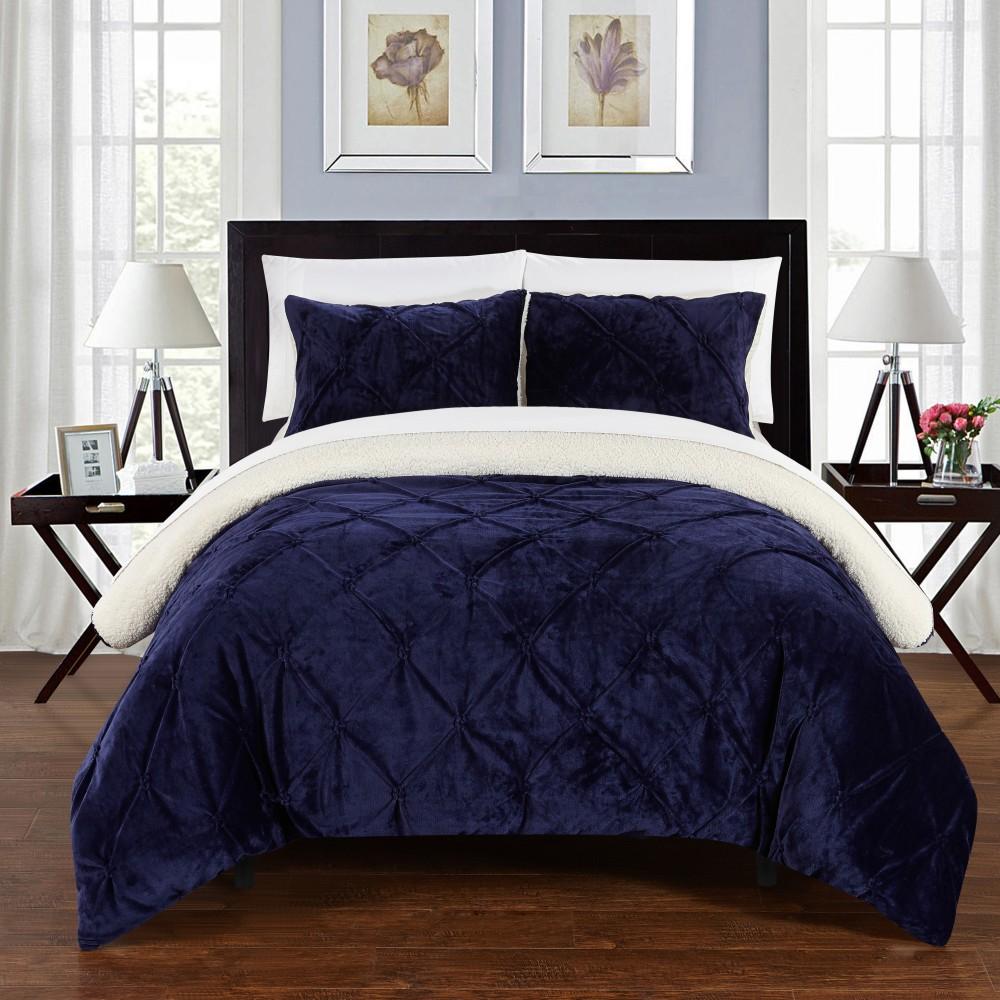 Image of 3pc King Chiara Comforter Set Navy - Chic Home Design