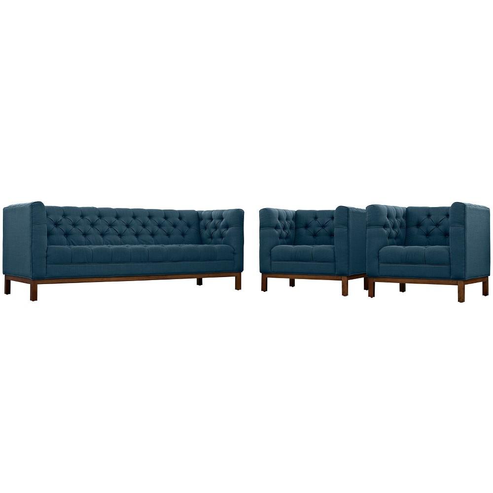 Panache Living Room Set Upholstered Fabric Set of 3 Azure (Blue) - Modway