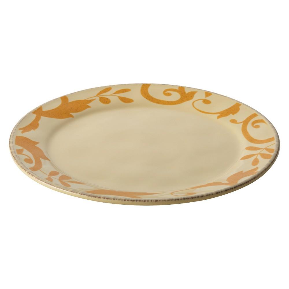Rachael Ray Gold Scroll Round Platter - Cream (Ivory) (12.5)