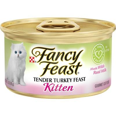 Purina Fancy Feast Classic Paté Gourmet Wet Cat Food Tender Turkey Feast Kitten - 3oz
