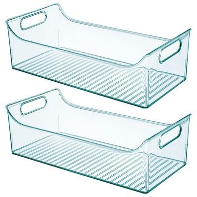 mDesign Plastic Storage Organizer Bin for Child/Kids Items, 2 Pack - Sea Blue