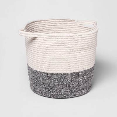 Coiled Rope Bin with Color Band - Cloud Island™ Gray