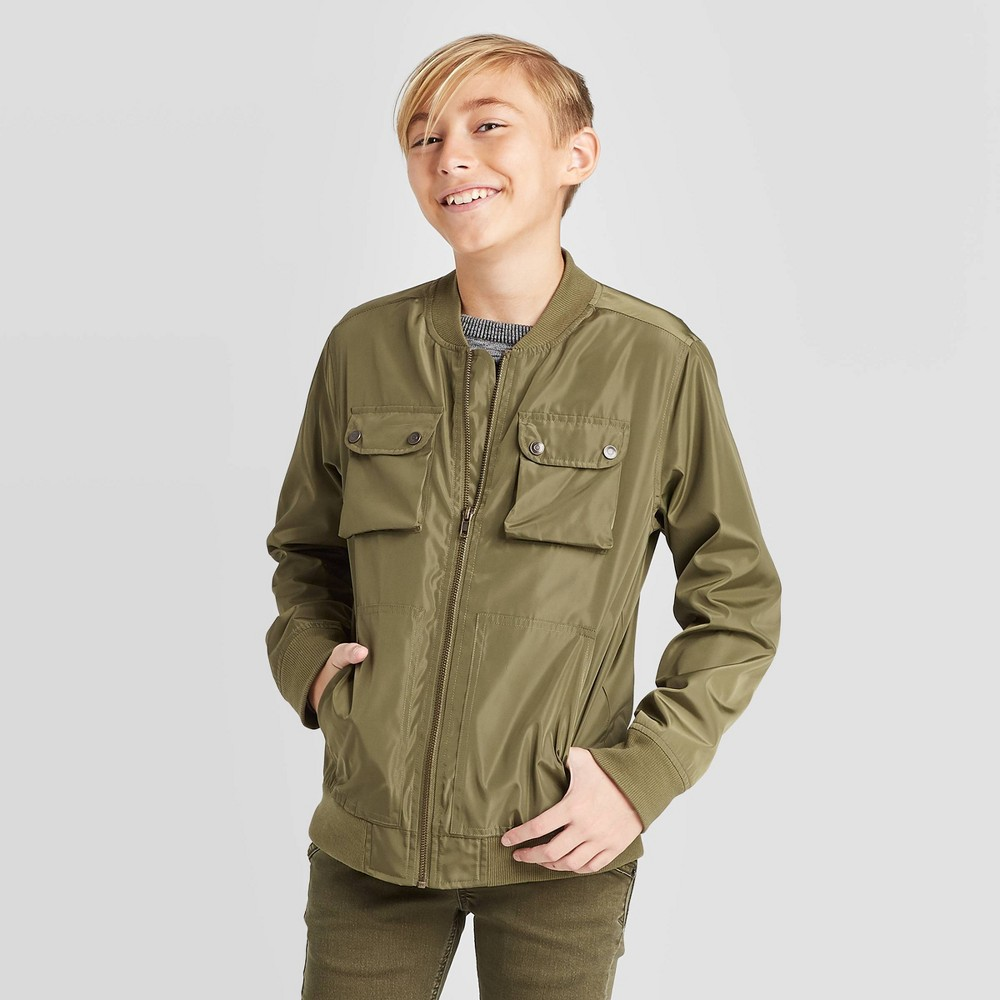Boys' Long Sleeve Bomber Jacket - Cat & Jack Olive XXL, Boy's, Green was $22.99 now $13.79 (40.0% off)